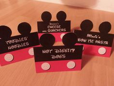These Mickey Mouse inspired food labels are perfect for letting your guests navigate the food table on their own while you tend to other important Mickey Mouse Clubhouse Birthday Party, Mickey Mouse 1st Birthday, Mickey Mouse Parties, Mickey Party, First Birthday Parties, First Birthdays, Birthday Ideas, 3rd Birthday, Birthday Table