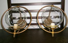 Outside Lighting / Exterior Lighting / Wall Sconces / 1920's Entryway Sconces / Crescent Brass Wall Sconces by Eklektibles on Etsy