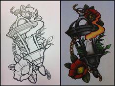 Traditional Tattoo Sketches, Traditional Tattoo Flowers, Traditional Tattoo Design, Neo Traditional Art, Traditional Lanterns, Tattoo Drawings, Body Art Tattoos, New Tattoos, Lamp Tattoo