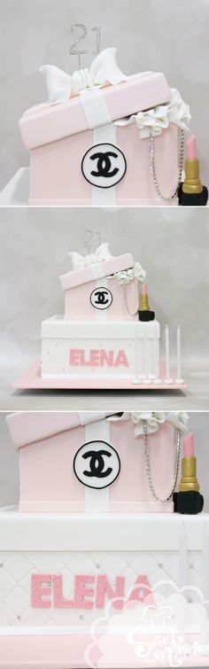Elena's 21st birthday cake, decked out in pink and finished with a Chanel…