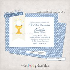 1st Holy Communion Invitations | Baptism Religious Confirmation Christening | Printable Print Your Own Custom Birthday Invitation | Boy Girl