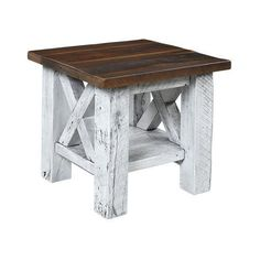 Margate Reclaimed Barn Wood End Table Rustic style accent table handcrafted with authentic barnwood. An end table rich with history. #endtables #barnwoodtables