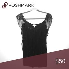 Polka-Dotted Black Top New with Tags- Black Polka-Dotted Top with Sheer Polka-Dotted Mesh on Sleeves and Front. Very Flattering on Stomach. New York & Company Tops Blouses