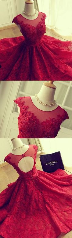Round Party Dresses, Red Short Party Dresses, 2017 Homecoming Dress Lace Red Tulle Scoop Short Prom Dress Party Dress