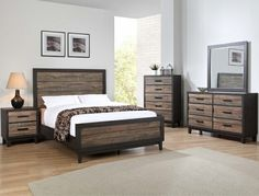 4 pc Tacoma two tone finish wood queen bedroom set. This set includes the Bed, Nightstand, Dresser, and Mirror. Bed measures x x H. Dresser measures x x H. Easy Living Furniture, Royal Furniture, Kitchen Furniture, Rustic Bedroom Furniture Sets, King Bedroom Sets, Queen Bedroom, 5 Piece Bedroom Set, Glam Bedroom, Cozy Bedroom