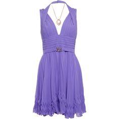 Designer Clothes, Shoes & Bags for Women Halter Dress Short, Ruched Dress, Short Dresses, Halter Neck, Purple Mini Dresses, Purple Outfits, Lilac Dress, Versace, Purple Cocktail Dress
