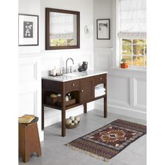 Ronbow Langley 48-inch Bathroom Vanity Set in Cafe Walnut with Mirror, Marble Countertop with White Oval Bathroom Sink