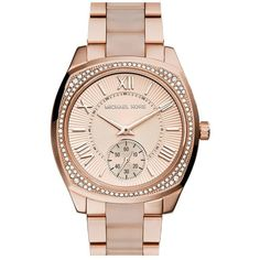 Michael Kors 'Bryn' Crystal Bezel Bracelet Watch, 40mm ($177) ❤ liked on Polyvore featuring jewelry, watches, dial watches, pave jewelry, crystal jewelry, bracelet watches and bezel bracelet