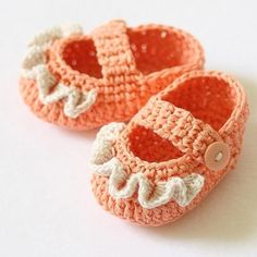 Baby Booties - Ruffle Mary Janes, crochet pattern, orange my-creations