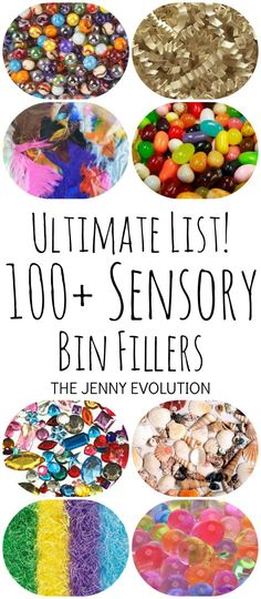 Ultimate List Of 100 Sensory Bin Fillers The Jenny Evolution Motor Activities, Sensory Activities, Infant Activities, Activities For Kids, Kindergarten Sensory, Kindergarten Themes, Indoor Activities, Sensory Tubs, Sensory Boxes