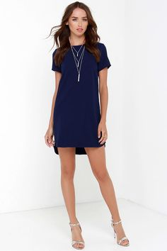 Navy Blue Shift Dress with side zippers at Lulus.com. Measurements: 38, 40, 42, 32.5 $48 | Navy or Blush