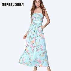 Refeeldeer Women Summer Sundress 2017 Long Maxi Beach Summer Dress Women Off Shoulder Strapless Tunic Boho Dress