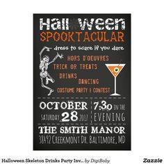 Halloween Skeleton Drinks Party Invitation #zazzle #halloweenpartyinvitations #monsterparty #printondemand #spooktacular #unique #event #october31 #party #corporate #bar