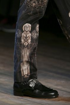 Historical/gothic cathedral detail on trousers from Dolce&Gabbana's Winter 2015 menswear collection