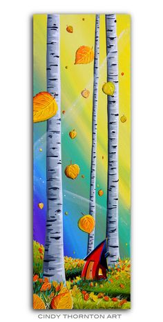 Update: Sold! Cindy Thornton Art ORIGINAL Autumn Fall Aspen Tree Leaves - Landscape Painting. Penny Auction ends 10.24.16.