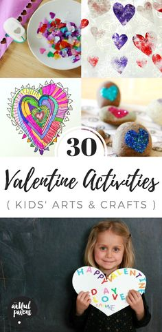 Looking for Valentine crafts and activities for kids? Here are 30 heart art ideas, Valentine craft projects, activities, and list of favorite picture books about Valentine's Day. Plus a free printable list! #valentinecrafts #valentinesday #kidscrafts #kidsactivities