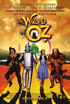 The Wizard of Oz; movie poster from 1939...omg how many times did I watch this as a kid