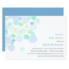 Bubbly Blue   Baby Shower Invitation - baby gifts child new born gift idea diy cyo special unique design