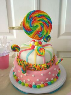Adorable candy themed birthday cake