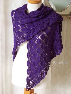 INSTANT DOWNLOAD, LAUREN, Crochet shawl pattern pdf
