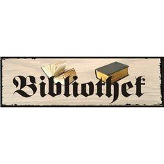 "Gefunden bei Wayfair.de - Schild ""Bibliothek"", Grafische Kunst"