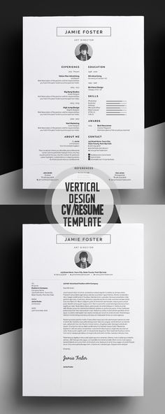 Professional CV / Resume Templates and Cover Letter Beautiful Vertical Design CV/Resume TemplateBeautiful Vertical Design CV/Resume Template Cover Letter Design, Cover Letter For Resume, Cover Letters, Creative Cover Letter, Cover Letter Template, Cv Resume Template, Creative Resume Templates, Creative Resume Design, Cv Design Template