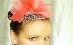 Sale  Large Coral Bridal Veil Fascinator by RoseRedBridalDesigns, $30.00