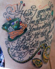 Side view of the Alice tattoo