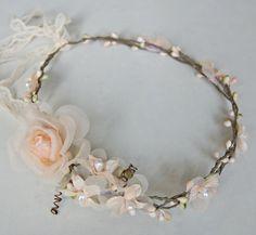 Weddings, Bridal Wire vine crown, woodland wedding, Peach rustic bridal wreath, vine wedding crown, flower bridal crown, peach flowers. $45.00, via Etsy.