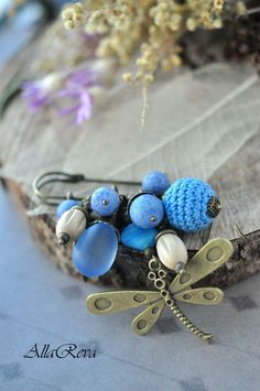 "Brooch handmade.  Fair Masters - handmade.  Buy Brooch ""Blue Dragonfly"".  Handmade.  Blue, dragonfly brooch"