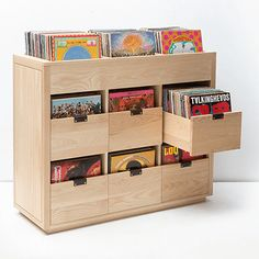 audio room audiophile vinyl storage Unison 38 Record Stand - Wooden Record Stand with Shelves Vinyl Record Storage Shelf, Vinyl Shelf, Storage Cabinets, Storage Shelves, Vinyl Record Cabinet, Cd Shelf, Record Player Cabinet, Vinyl Record Display, Stereo Cabinet