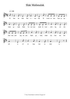Slak Malimalak - Thema: Kriebelbeestjes - Kinderliedjes - Liedjes voor Peuters en Kleuters - Bladmuziek / Notenschrift