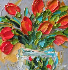 Original Oil Painting Red Tulips Impasto Wall by IronsideImpastos, $40.00