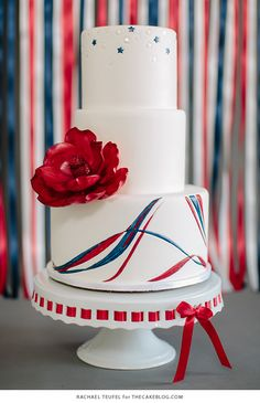 American Flag Wedding Cake | by Rachael Teufel for TheCakeBlog.com