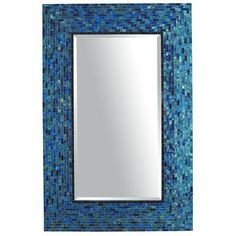 Cerulean Blue Mirror...love the blue tile around the mirror. could recreate this pretty easily