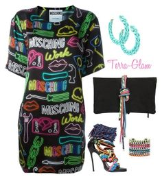 """Neon Nuisance"" by terra-glam ❤ liked on Polyvore featuring Moschino, Dsquared2 and DANNIJO"