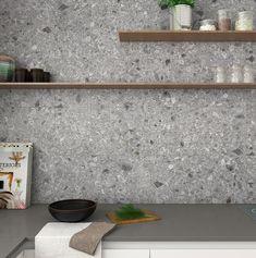 Concrete Kitchen, Kitchen Flooring, Kitchen Backsplash, Terrazzo, Grey Kitchens, Home Kitchens, Kitchen Tops, Modern Kitchen Design, Apartment Design