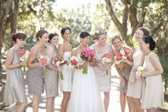 Mismatched Neutral Bridesmaid Dresses + pink flowers