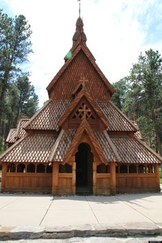 South Dakota, Chapel In The Hills, Rapid City: This Stave church is an exact replica of the famous Borgund stavkirke of Laerdal, Norway.
