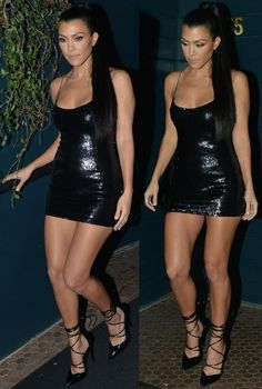 Kourtney Kardashian wearing pieces from her own collection at her PrettyLittleThing party in Los Angeles Kourtney Kardashian, Robert Kardashian, Kardashian Style, Kardashian Jenner, Tight Dresses, Sexy Dresses, Sexy Outfits, Kanye West, Celebrity Dresses