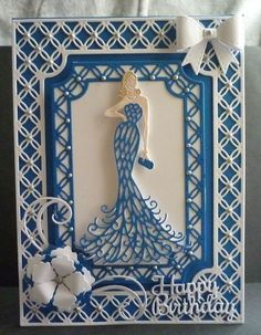 Card made using the Tattered Lace Glamourous lady die and the hunkydory trellis die set. 3d Cards, Folded Cards, Birthday Cards For Women, Women Birthday, Art Deco Cards, Tattered Lace Cards, Lace Art, Spellbinders Cards, Dress Card