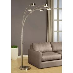 Artiva USA Micah - Modern & Stylish - 5 Arc Brushed Steel Floor Lamp w/ Dimmer Switch, 360 Degree Rotatable Shades - Dim Options - Bright & Attractive - Easy Assembly - Solid Construction - Stainless Steel - Industrial & Mid-Century 5 Light Floor Lamp, Tree Floor Lamp, Arc Floor Lamps, Contemporary Floor Lamps, Modern Floor Lamps, Contemporary Design, Home Decoracion, Living Room Flooring, Home Decor Outlet