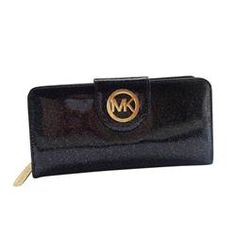 Michael Kors Smooth Logo Large Black Wallets