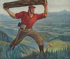 Paul Bunyan  (from a Timken Detroit Axles magazine ad - 1949)  http://www.vintageadbrowser.com/transportation-ads-1940s/168