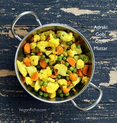 Adraki Gobi Gajar Mattar - Cauliflower Carrots and Peas saute with Cumin seeds and Ginger. Vegan Glutenfree Recipe | Vegan Richa