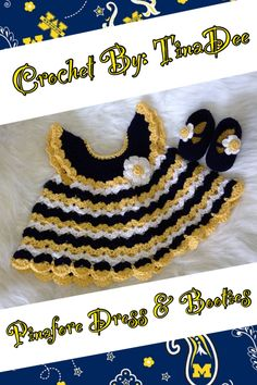 Crochet By: TinaDee Pinafore Dress with matching Mary Jane shoes done in U of M colors for the Wolverines fan!  Pattern By: http://www.bevscountrycottage.com/angel-wings-pinafore.html