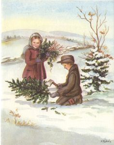 Tasha Tudor Vintage Christmas Card I love Tasha Tudor things Christmas Past, Christmas Pictures, Xmas, Die Tudors, Beatrix Potter, Christmas Illustration, Vintage Christmas Cards, Illustrations, Vintage Postcards
