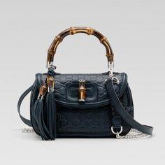 Gucci 240242 Af51n 4014 New Bamboo'Medium Top Griff Tasche mit Quasten Ein Gucci Damen Handtaschen