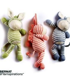 Free Knitting Pattern for Zebra Toy - This softie by Bernat is approx 12″ [30.5 cm] long.