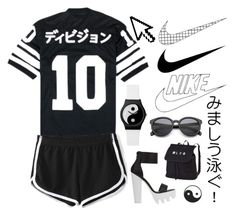"""Back in black, I hit the sack, it's been to long I'm glad to be back..."" by ginaisanerd ❤ liked on Polyvore featuring 10.Deep, NIKE, Pointer and YIN"